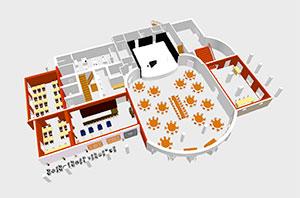 Kurhaus Bad Tölz - Festsaal für Hochzeiten - Tischplan 14 runde Tische und Tafel